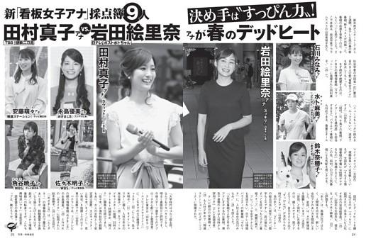 新「看板女子アナ」田村真子 vs. 岩田絵里奈がデッドヒート